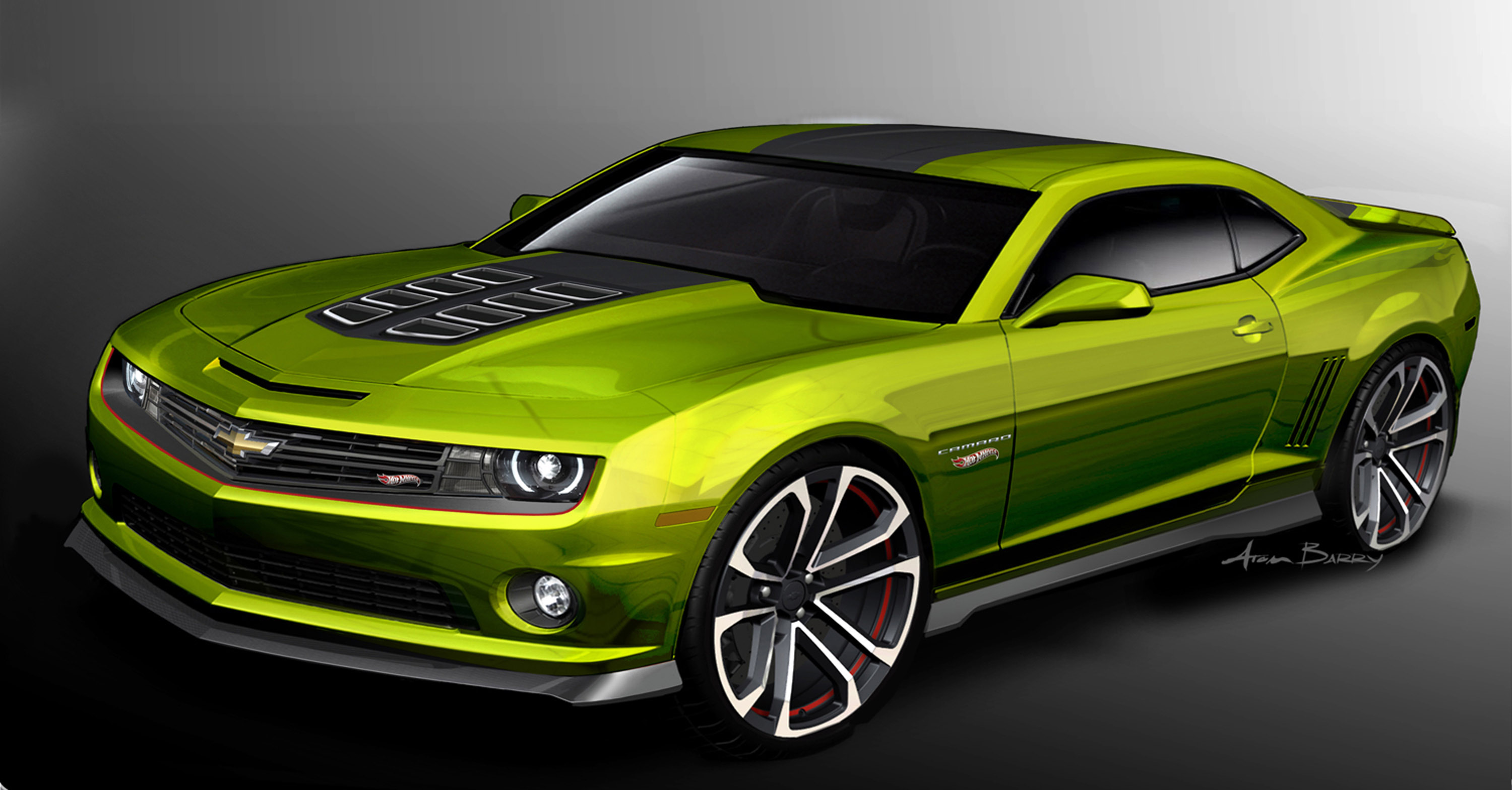 Chevrolet Camaro Hot Wheels Concept and Chevrolet Spark  a Green