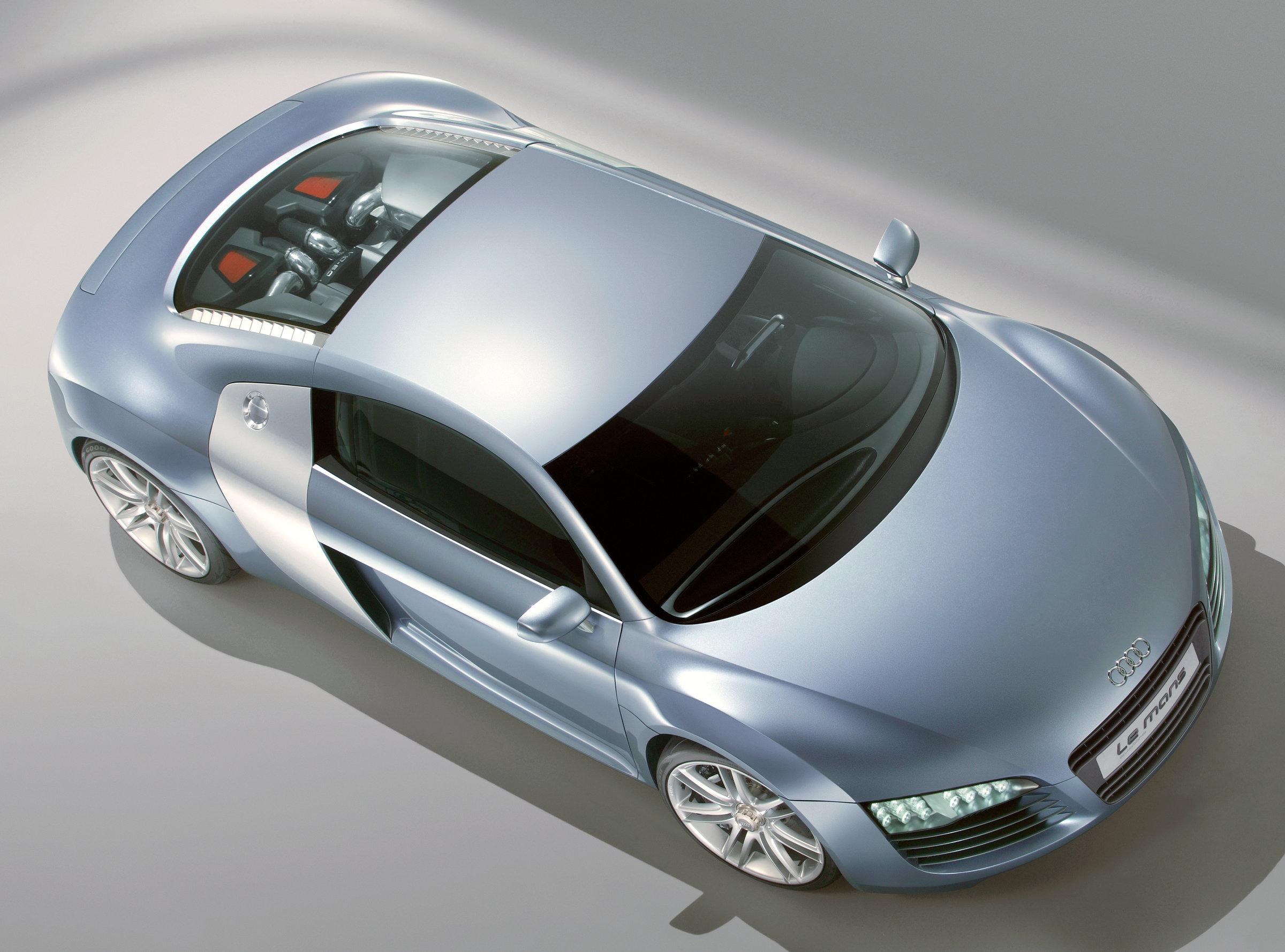 Audi Le-Mans Quattro, вид сверху, Audi, автомобили, серое, техника