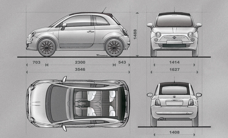 Fiat 500e dimensions
