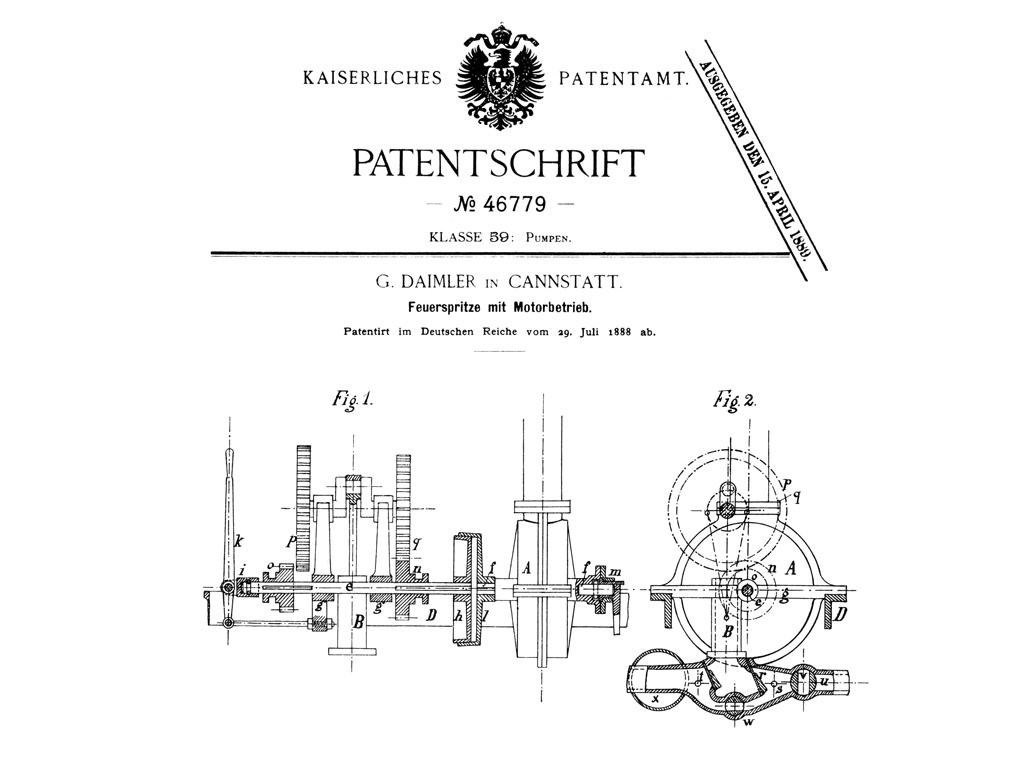 1888 Gottlieb Daimler Files Patent Application For First Gasoline Combustion Engine Diagram Powered Fire Fighting Pump