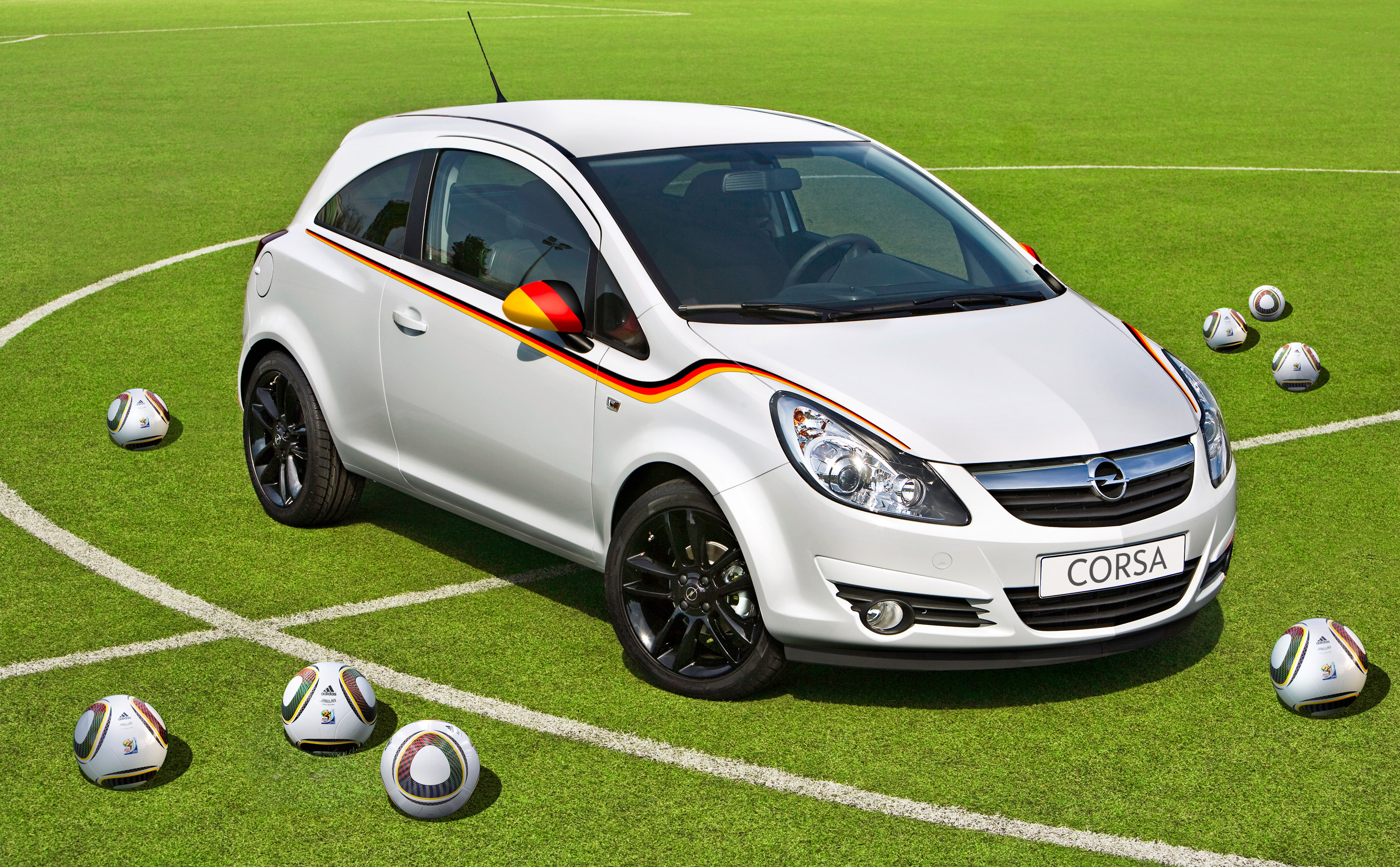 opel corsa with fresh flag stickers for the world cup of. Black Bedroom Furniture Sets. Home Design Ideas