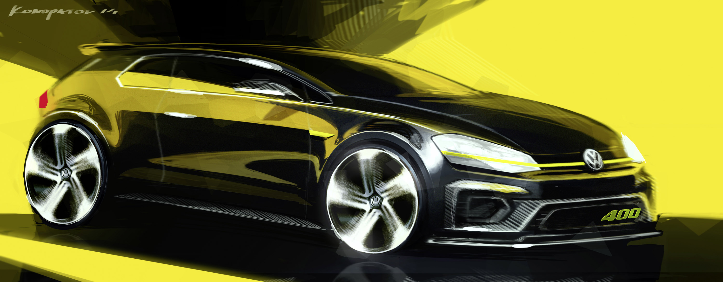 volkswagen golf r 400 concept car sketch