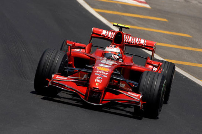 Kimi Raikkonen in the F2007 F1 car