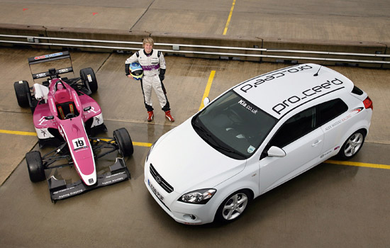 Rising F3 star Alex Waters whit his race car and Pro_cee\'d