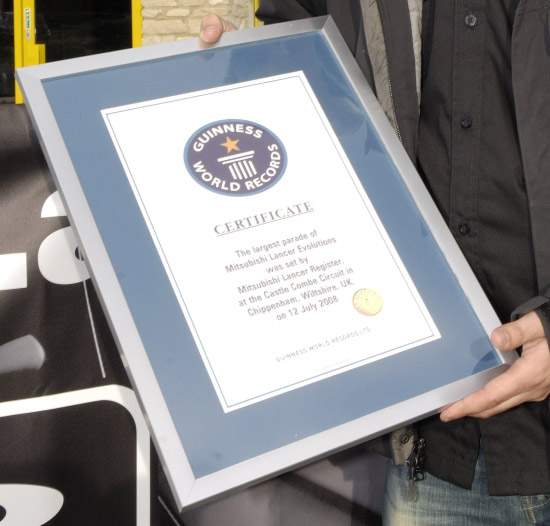 MLR New World Record Certificate