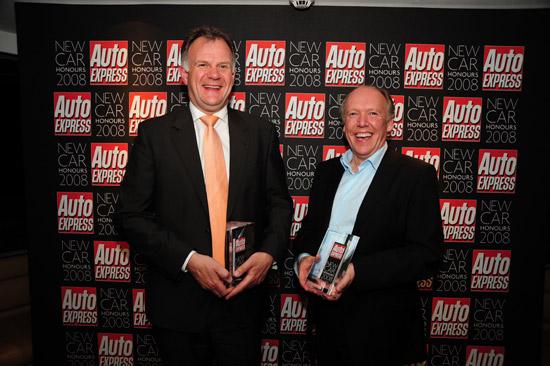 Jaguar\'s PD Director Phil Hodgkinson (left) and Design Director Ian Callum collected Jaguar\'s two awards from Auto Express