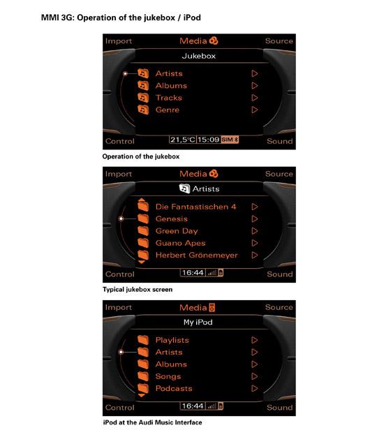 The new Audi Multi Media Interface MMI - 4000 track internal jukebox music storage