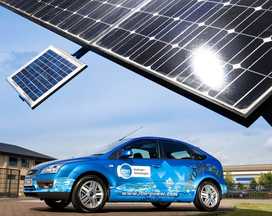 ITM's hydrogen-powered car can use hydrogen produced using solar power