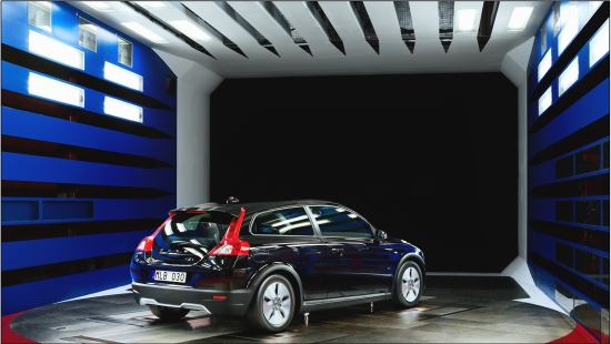 The Volvo C30 in the Volvo Cars Wind Tunnel