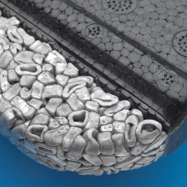 ARPRO Porous beads weigh less yet retain the same structural integrity of normal ARPRO, resisting multiple impacts without damage.