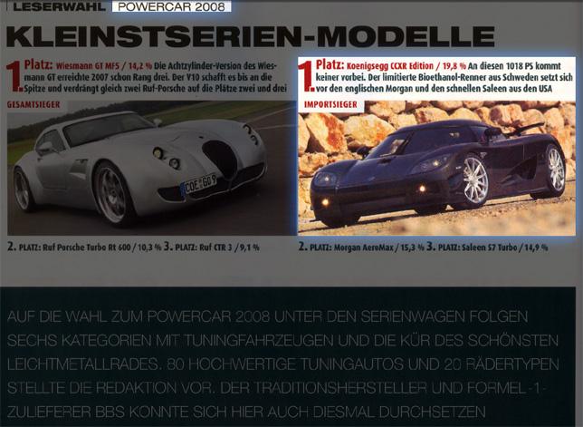 Koenigsegg CCXR wins POWER CAR OF THE YEAR 2008