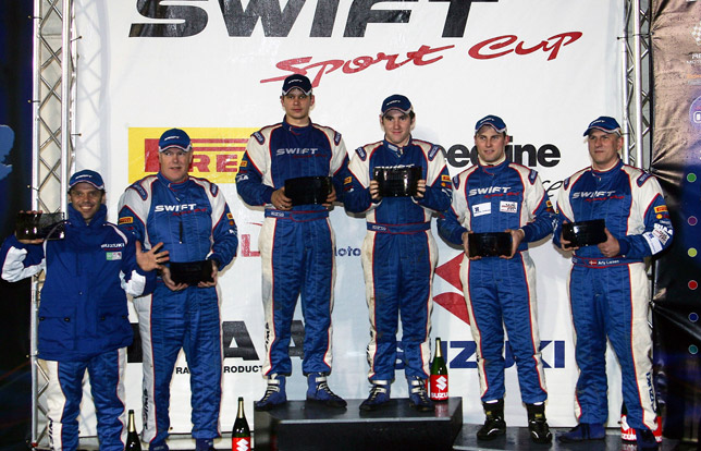 Suzuki Swift Sport Cup podium celebrations (left to right): Loris Capirossi and Craig Thorley, Mark Gamble and Steve Link, Niki Bjerg and Arly Larsen