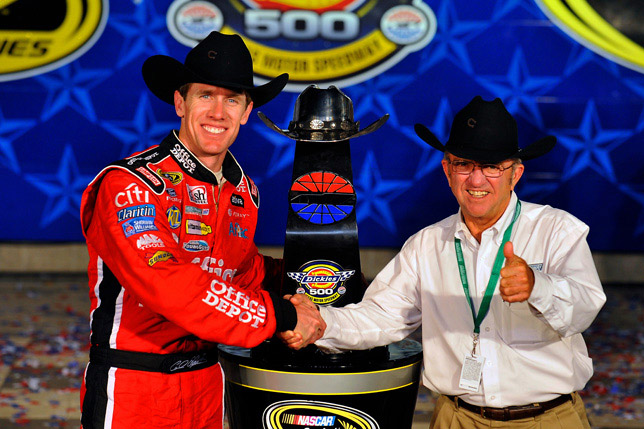 Texas USA Carl Edwards gets congratulated by owner Jack Roush in Victory Lane