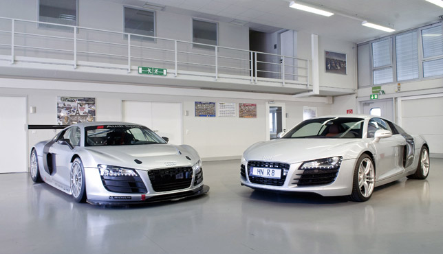 The Audi R8 LMS (left) and Audi R8