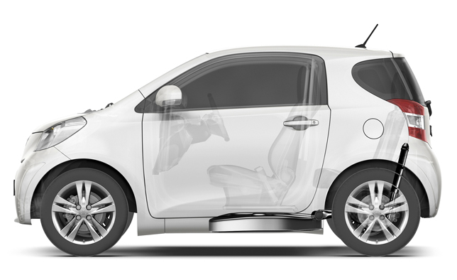 Toyota iQ: Flat under-floor fuel tank