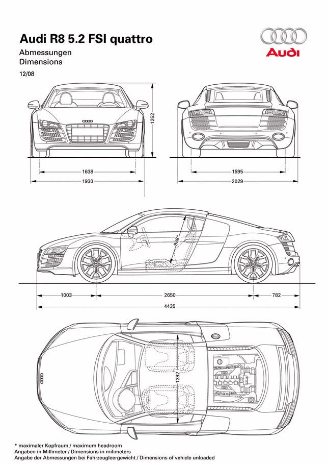 Audi R8 5.2 FSI quattro Dimensions
