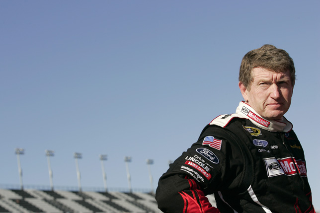 Bill Elliott looks down Pit Lane after qualifying 5th for the 2009 Daytona 500