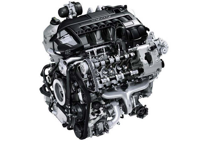Graphic sectional view of the Panamera Turbo engine