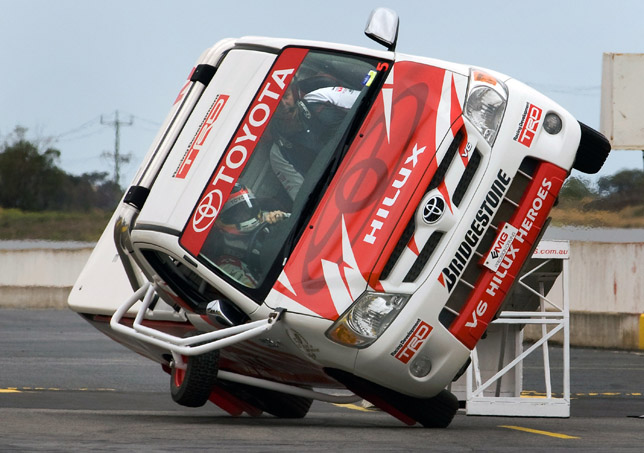 Timo Glock driving with the Toyota Hilux stunt in Melbourne