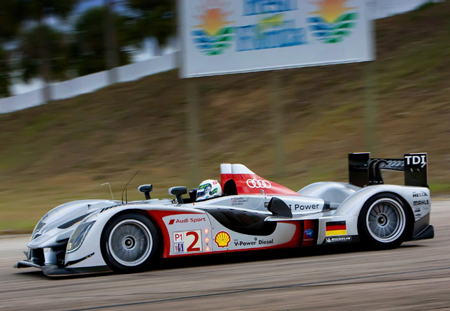 Allan McNish taking victory in the new Audi R15 TDI in Sebring, Florida