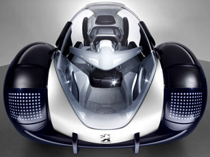 life-size model of the peugeot's rd concept car at shanghai motor show