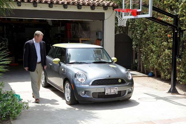 Peter Trepp of Pacific Palisades, California, the first customer in the U.S. to take delivery of the fully-electric, zero emissions MINI E