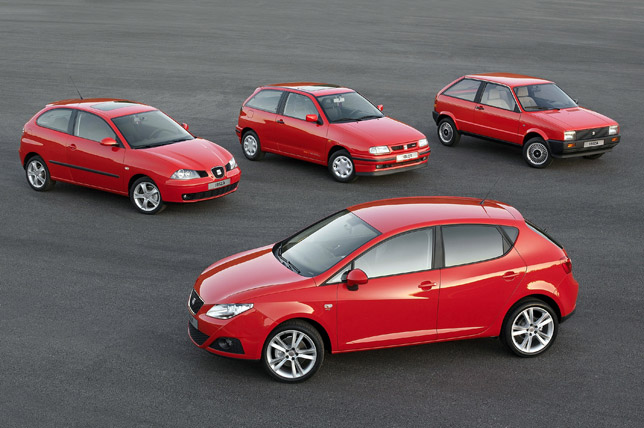 The four generations of the SEAT Ibiza