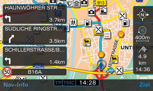 Audi navigation system plus - Navigation map with list of directions and speed limit indicator