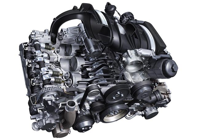 The 3.8l-engine of the 911 Carrera S with direct fuel injection has a performance of 385 PS