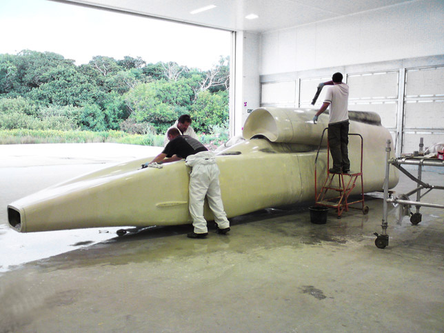 The full-size BLOODHOUND SSC model under construction prior to its Goodwood showing