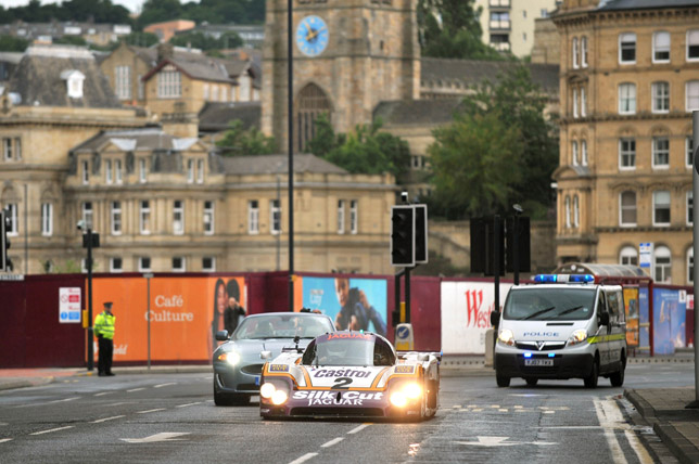 The iconic Le Mans winning Jaguar XJR-9LM car runs through the streets of Bradford during the 2009 Bradford Classic.