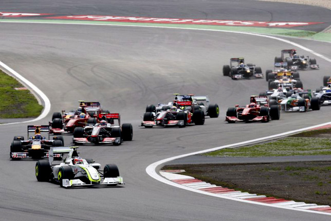Rubens Barrichello leads Mark Webber
