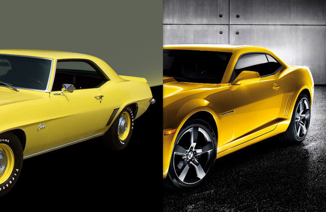 1969 zl1 Camaro and 2011 Camaro SS (side and rear)