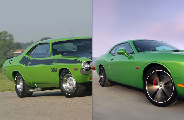 1970 Challenger TA and 2011 Challenger SRT8 (side and rear)
