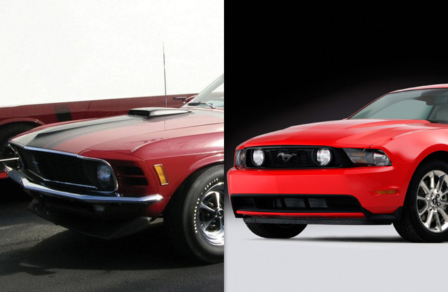 1970 Boss 302 Mustang and 2011 Mustang GT (front)