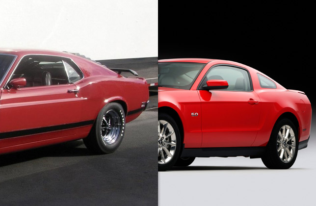 1970 Boss 302 Mustang and 2011 Mustang GT (side and rear)