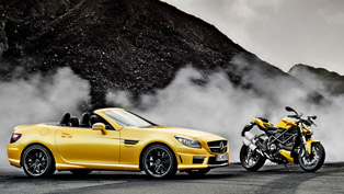 Mercedes-Benz SLK 55 AMG and Ducati Streetfighter 848