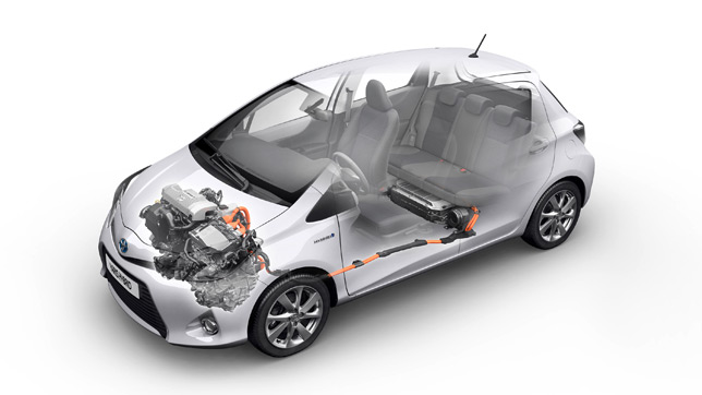 Hybrid Synergy Drive layout (Yaris)