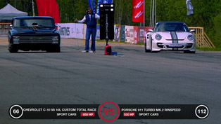 1968 Chevrolet C-10 V8 10.0 liter vs Ferrari 599 GTB and Porsche 911 Turbo Rinspeed