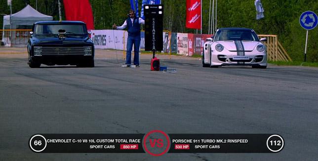 Porsche 911 Turbo Rinspeed vs Chevrolet C-10 V8 10.0 liter
