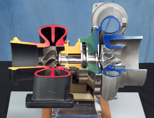 Cut-away view of a turbocharger held by a foil-bearing