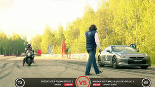 Suzuki GSX 1300R Hayabusa vs GSX R-1000 vs Nissan GT-R [HD video]