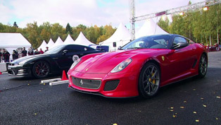 Ferrari 599 GTO vs Chevrolet Corvette ZR1 and Nissan GT-R [HD video]