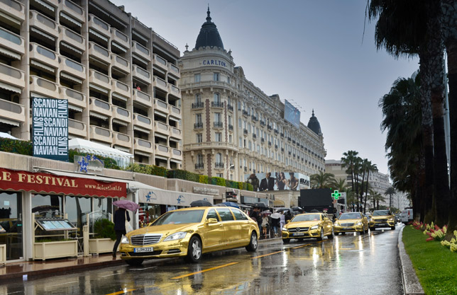 Golden Mercedes-Benz AMG Fleet at the Cannes Film Festival