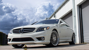 renntech mercedes-benz cl 65 with multi spoke forged wheels in silver pearl