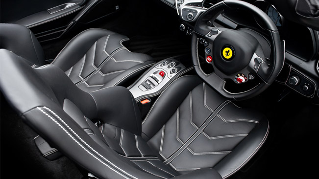 White Ferrari 458 Spider Interior