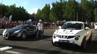 bugatti veyron vs nissan juke r [video]