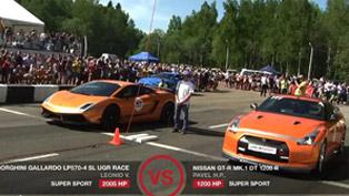 Lamborghini Gallardo UGR Twin Turbo 2005HP vs Nissan Juke-R, GT-R DT1200R and Mustang Shelby GT