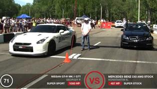 Nissan GT-R GTT 1000 vs GT-R BoostLogic Godzilla, C63 AMG and CLS63 AMG Gorilla Racing