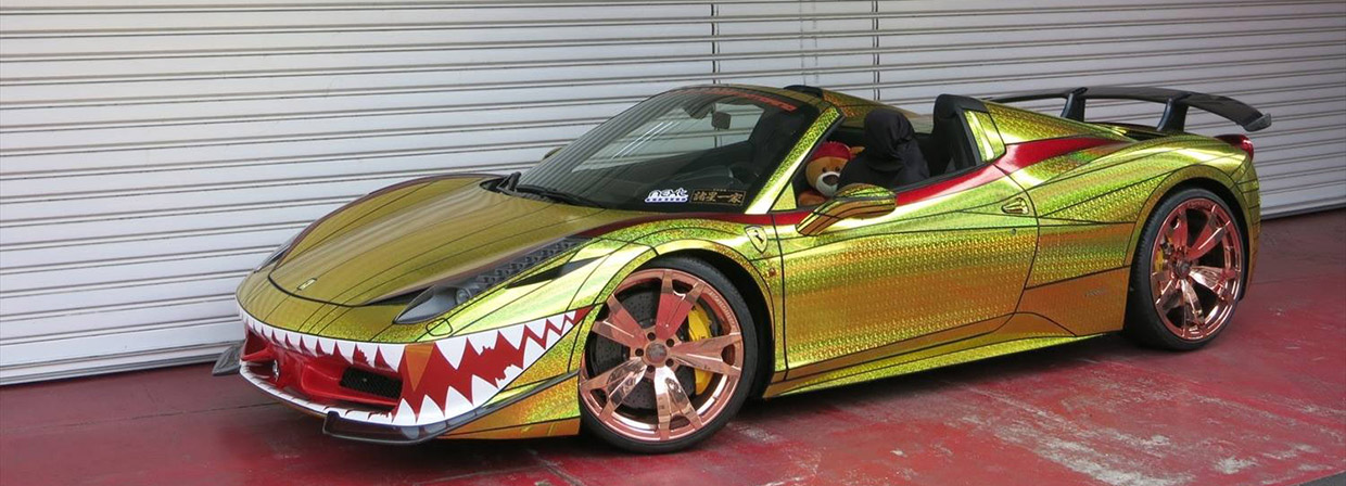 Ferrari 458 Spider Golden Shark Side